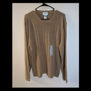 NWT Alfani Men's Tan Long Sleeve WOOL Sweater SZ L